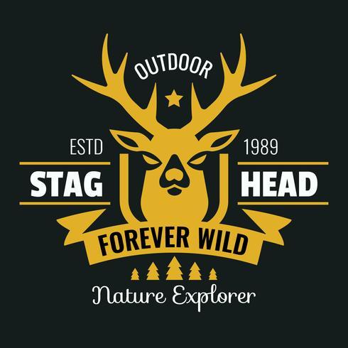 Logotipo do Vintage de cabeça de veado