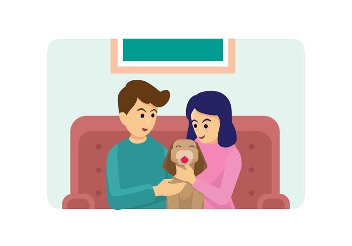 Ilustración de vector de familia de perro