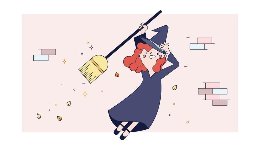 Hexe, die lernt, Vektor zu fliegen