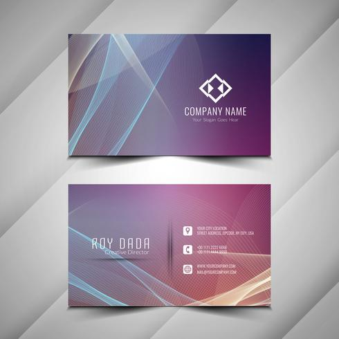 Abstract colorful elegant wavy business card template vector