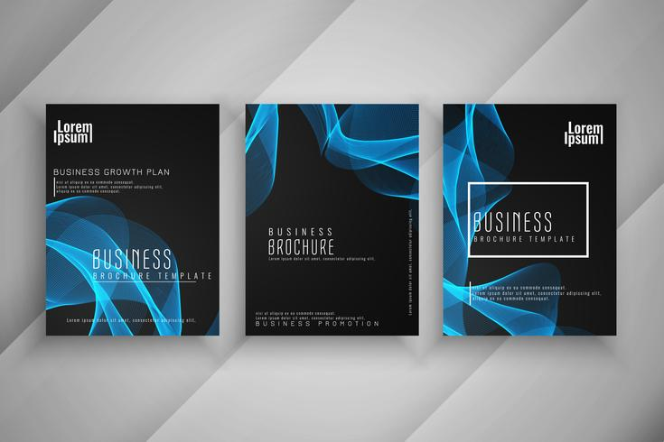 Ensemble de conception ondulé élégant brochure entreprise élégant