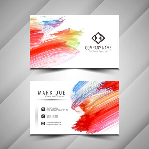 Abstrakt färgrik vattenfärgvisitkortdesignmall