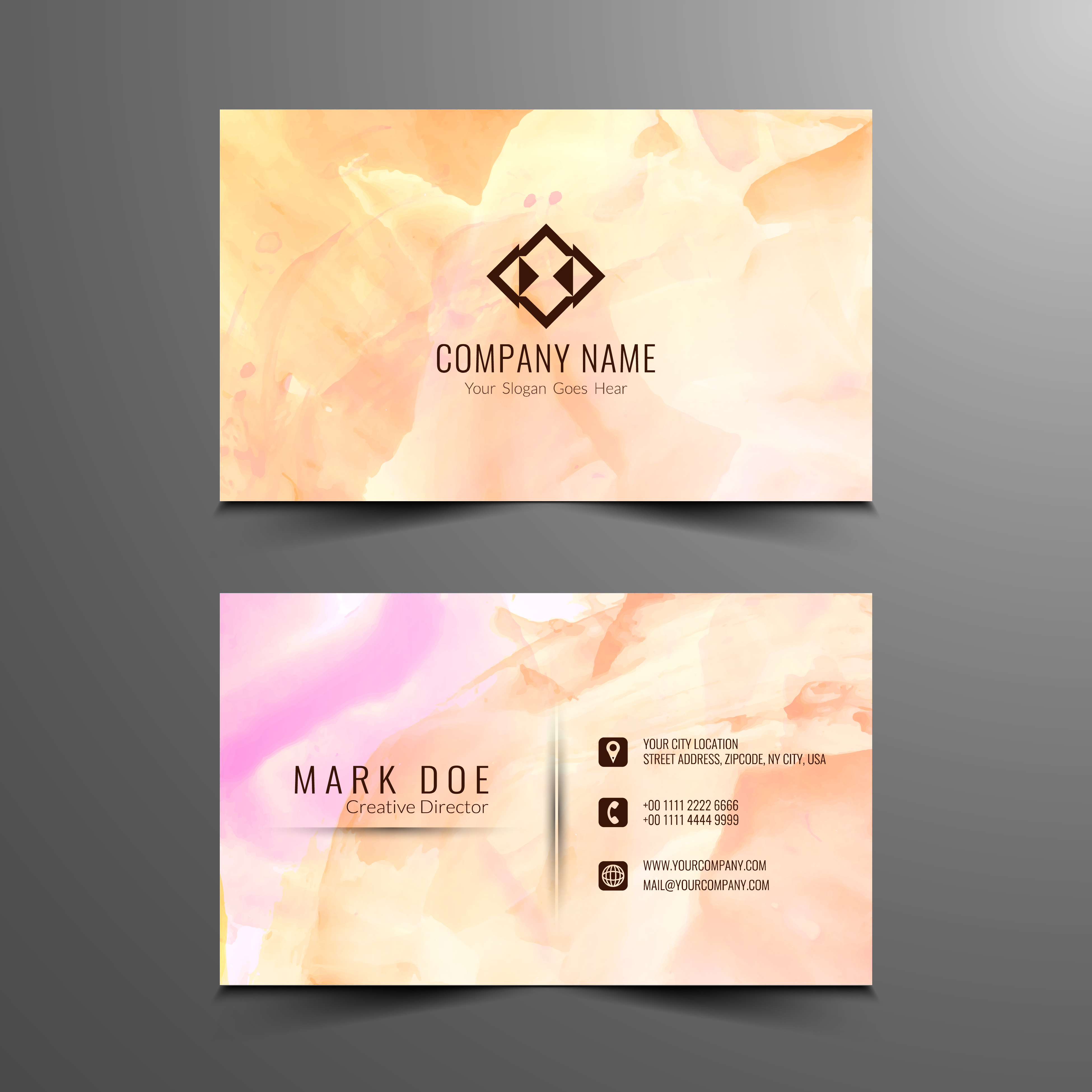 Abstract Flowers Logos:  Abstract Watercolor Business Card Design Template