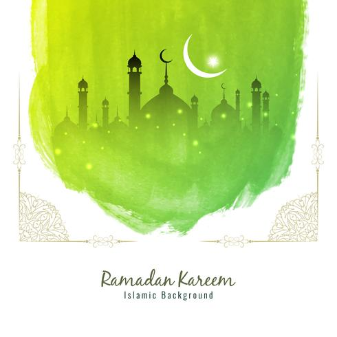 Abstract Ramadan Kareem green watercolor background