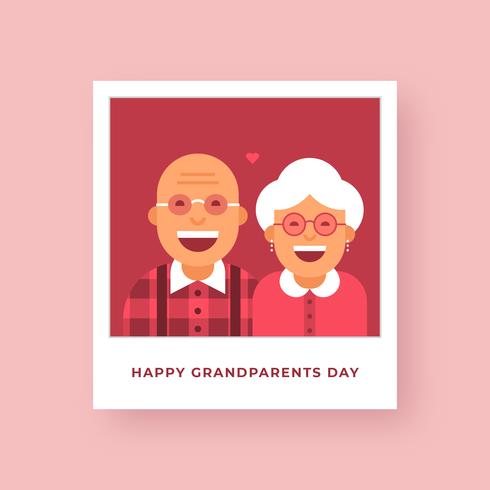 Gelukkige grootouders dag Polaroid Vector kaart