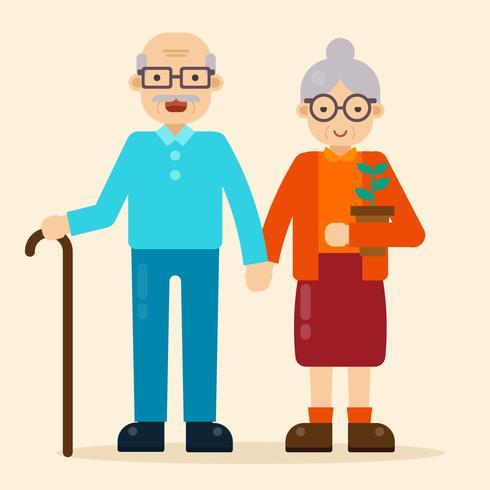 vector de abuelos felices