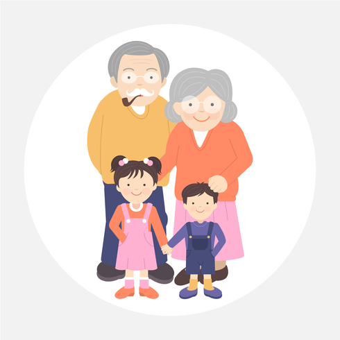 Illustration vectorielle de grands-parents et petits-enfants portrait