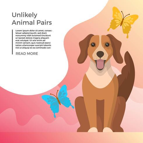 Vlakke onwaarschijnlijk dier paren hond en vlinder vectorillustratie