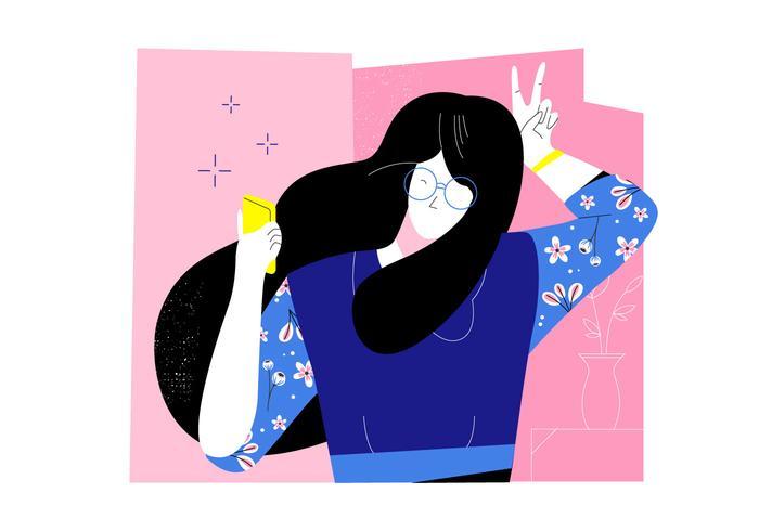 Lustiges Mädchen mit dem gewellten Haar und Gläsern, die Selfi-Vektor-flache Illustration nehmen