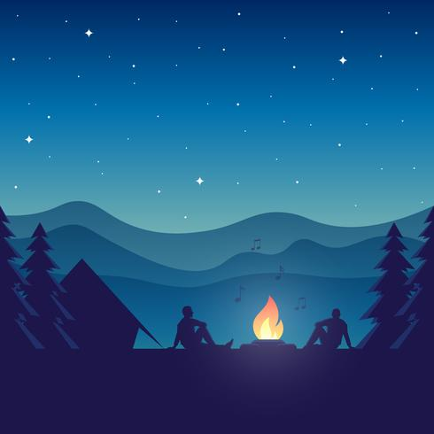 Music Festival Camping Vector Cartoon Concept Illustration