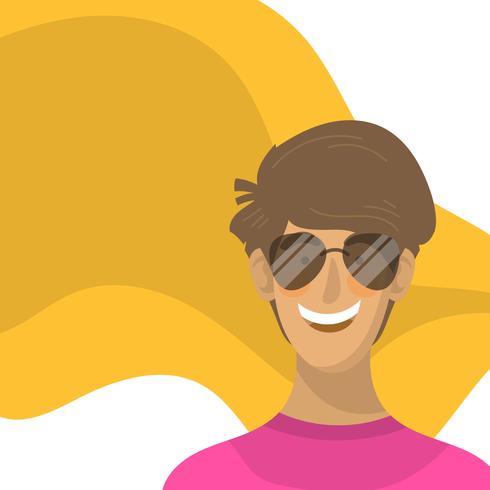 Menino liso com ilustração em vetor personagem óculos