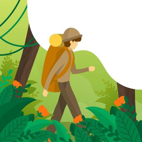 Illustrazione piana di vettore degli esploratori della giungla