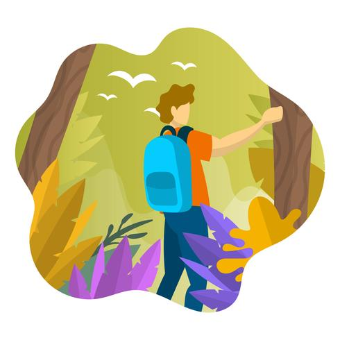 Flat Jungle Explorers Vector Illustration