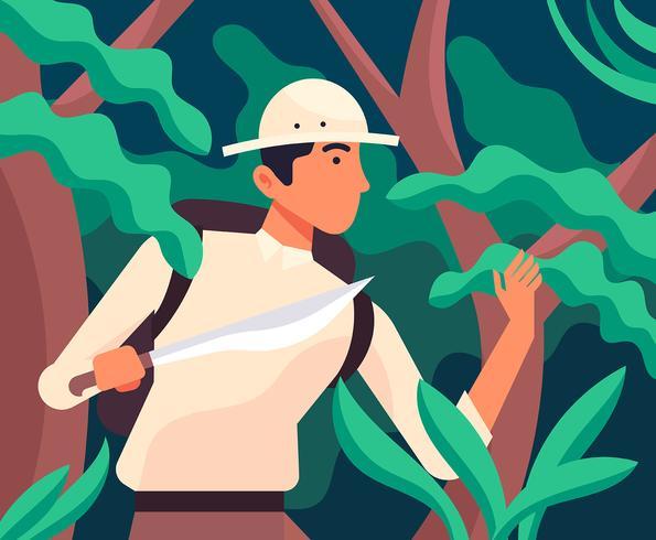 Ilustración de exploradores de la selva