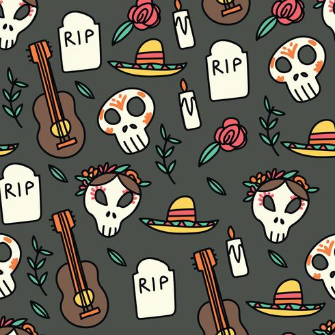 Motif Doodled Day of the Dead