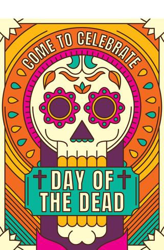 Colorful Day of the Dead Poster