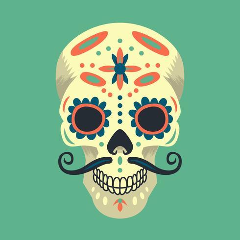 Colorful Mexican Sugar Skull Illustration
