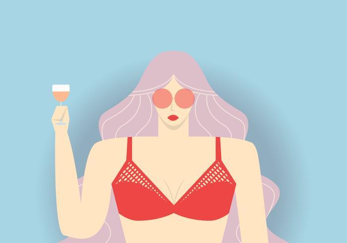 Ragazza bikini con cocktail