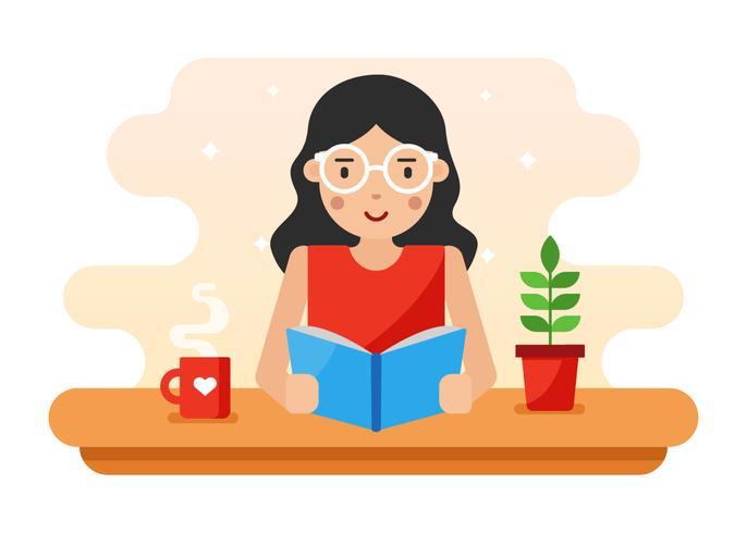 Tjej med vågigt hår och glasögon Läser en bokvektor