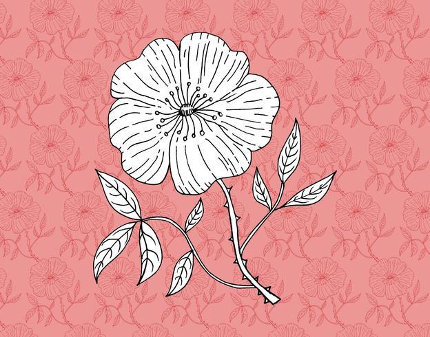 Retro Blumentapete vektor