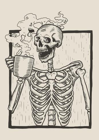 Skeleton Linocut Drink Coffee