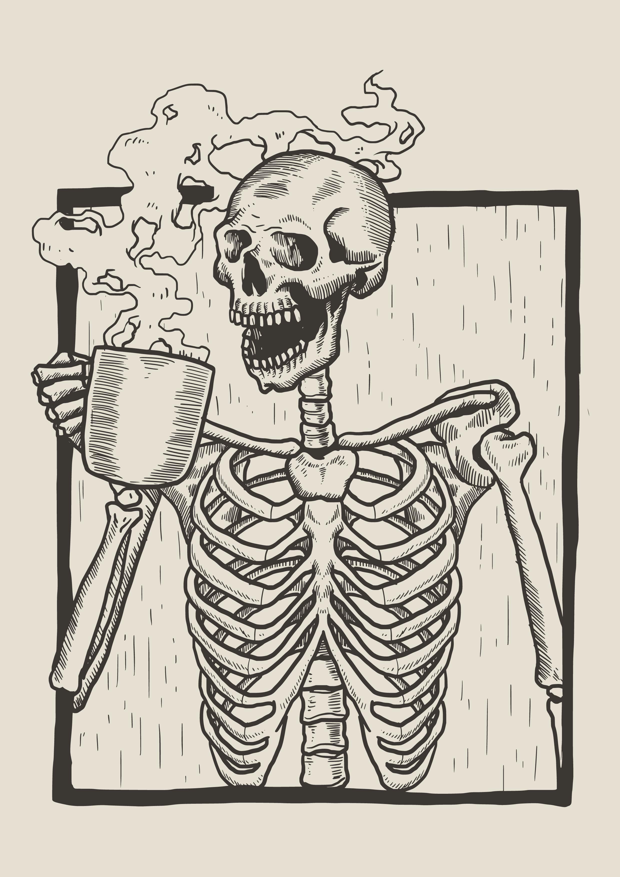 Skeleton Linocut Drink Coffee - Download Free Vectors ...
