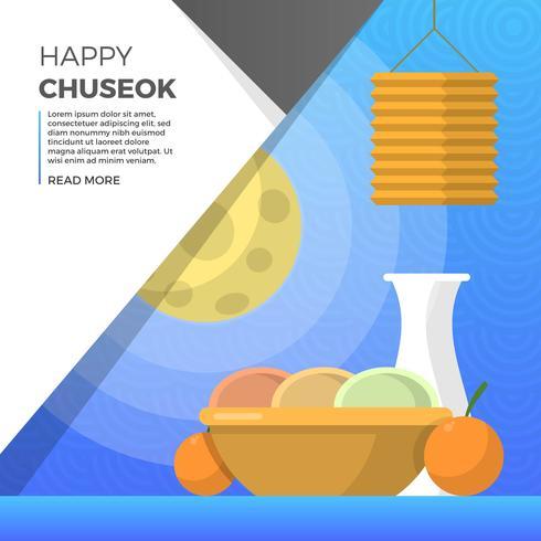 Plats plats Chuseok Festival d'automne avec illustration vectorielle fond pleine lune vecteur