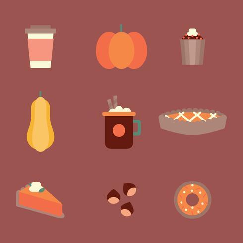 Flat Pumpkin gekruide voedsel pictogrammen