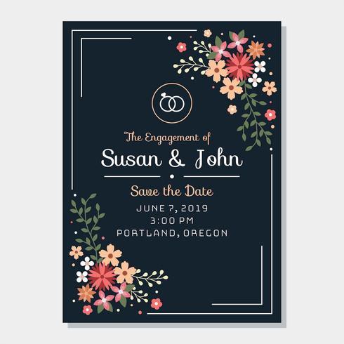 Vetor de modelo de convite de noivado