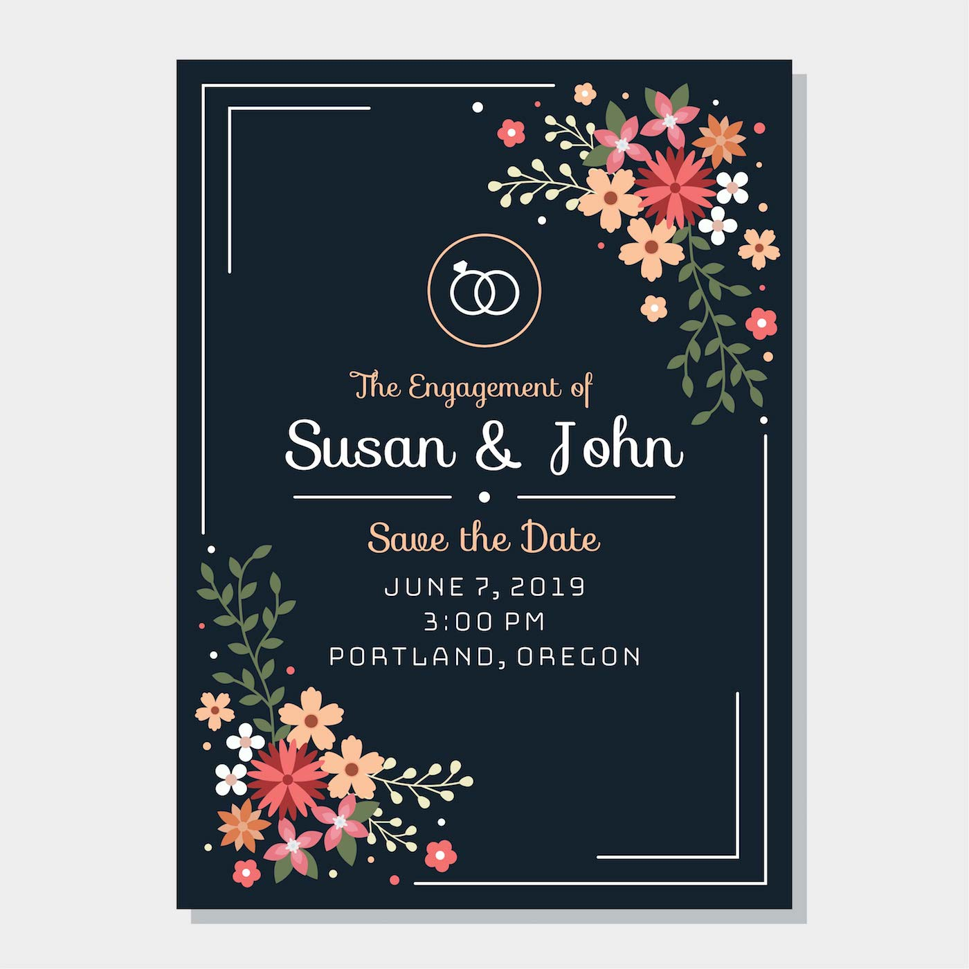 Invitation Card Template Video: Engagement Invitation Free Vector Art