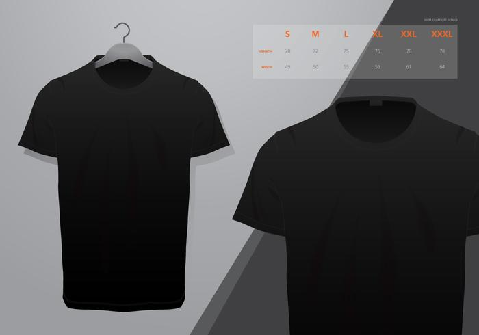 Realistic vector t-shirt with size mock up illustration
