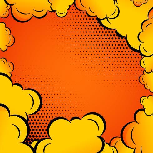 komische Wolken auf orange Hintergrund