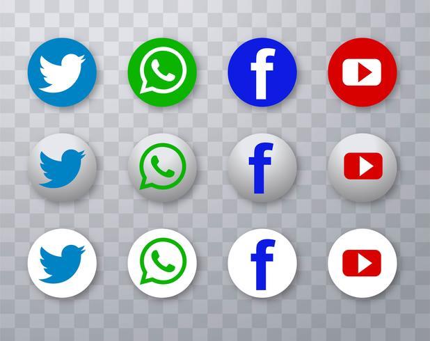 Icônes de médias sociaux modernes mis en design