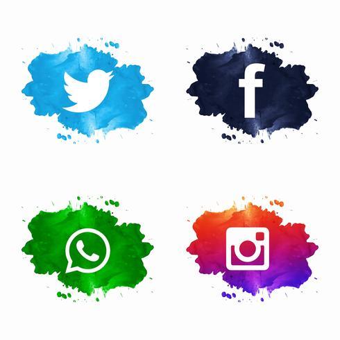 Icônes de médias sociaux élégantes mis en design