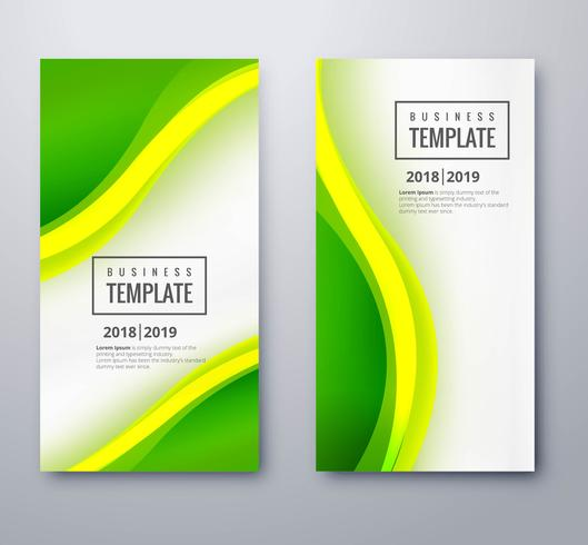 Abstract green wavy banners set template design vector