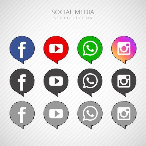 Illustration de médias sociaux collection d'icônes de médias sociaux populaires