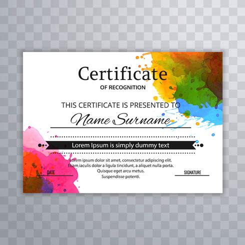 Diseño de acuarela hermosa plantilla de certificado colorido vector