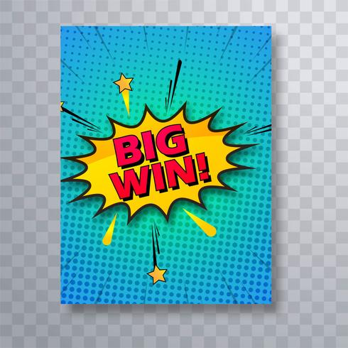 Big win comic book colorful pop art brochure template vector des
