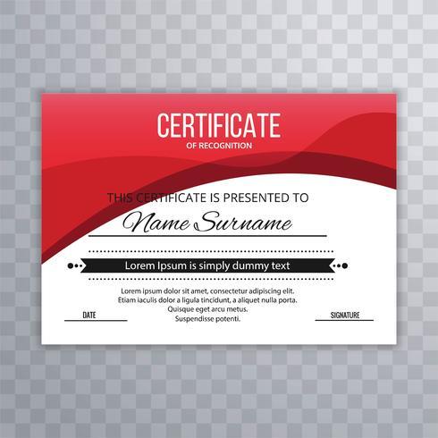 Conception élégante du certificat dans un style professionnel avec vague