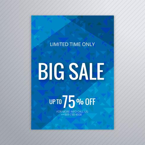 Abstrakt stor försäljning blå broschyr mall design
