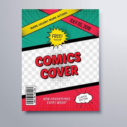 Comics book magazine cover template background