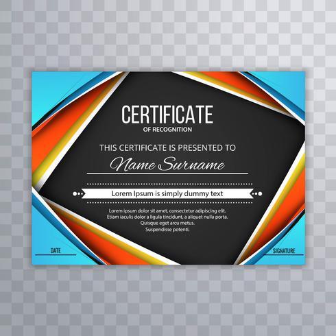 Elegant färgstark certifikat mall våg vektor illustration