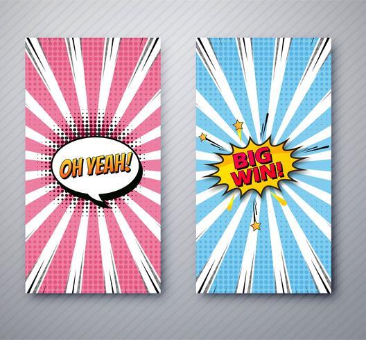 Mooie komische banners instellen sjabloon ontwerp illustratie