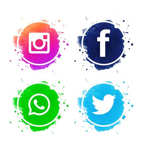 Belo conjunto de ícones de mídias sociais vector