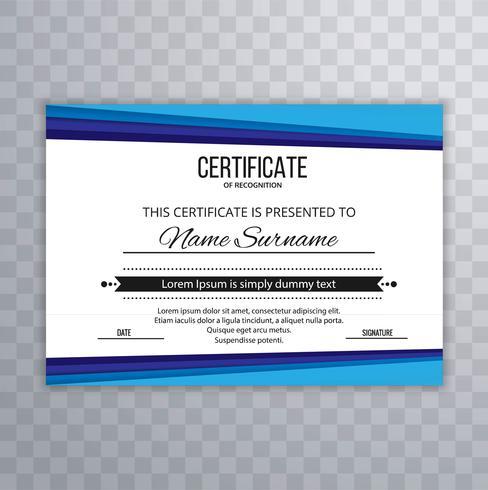 Moderne blauwe certificaatsjabloon vector