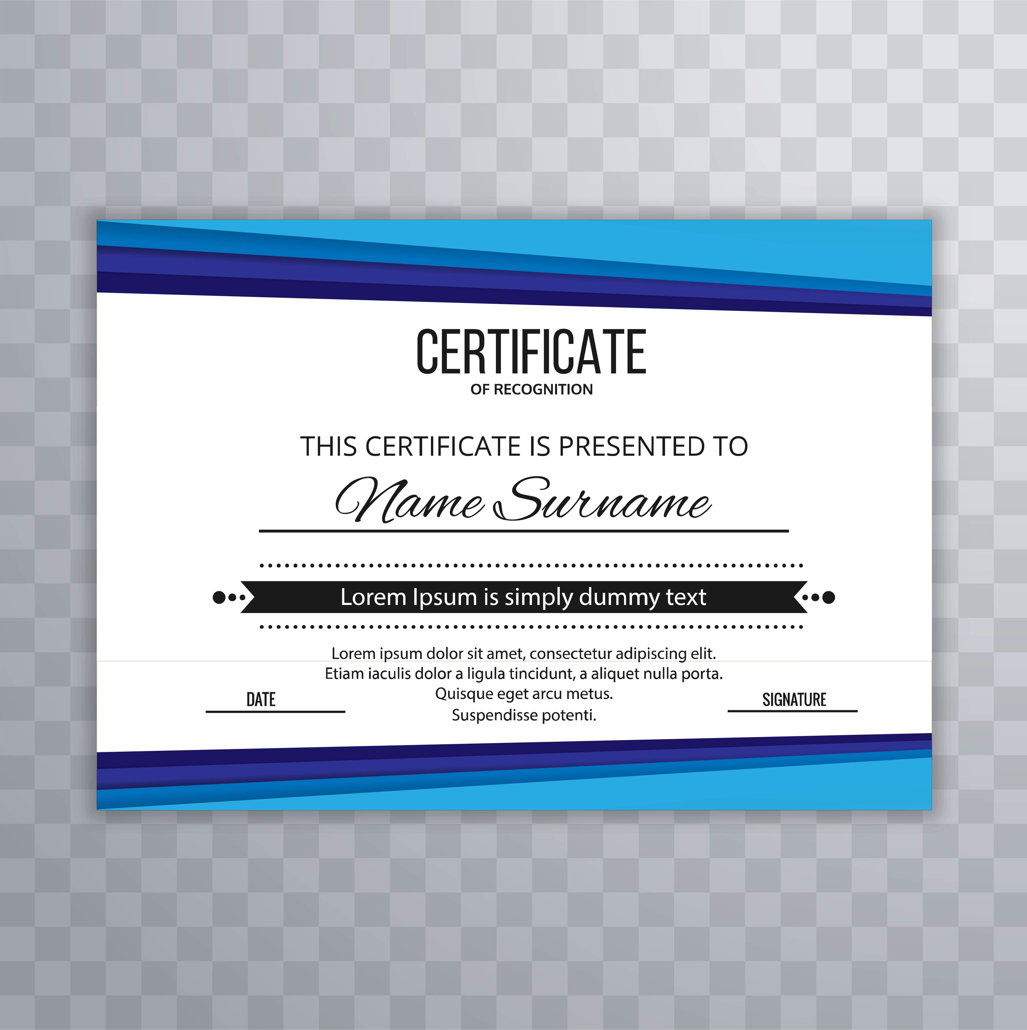 Modern Blue Certificate Template Vector Download Free Vector Art