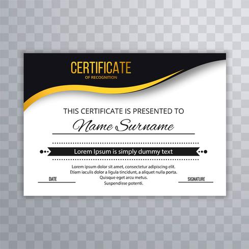 Modèle de certificat avec un design luxueux et moderne