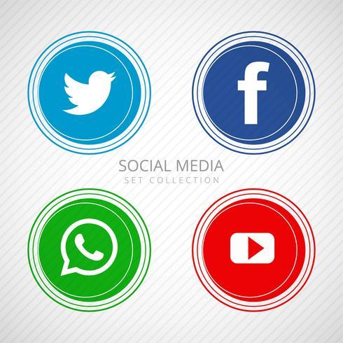 Icônes de médias sociaux abstraites définies illustration