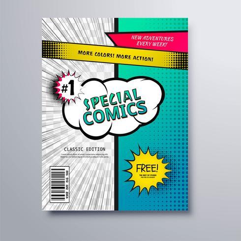 Conception de modèle de couverture de bande dessinée spéciale