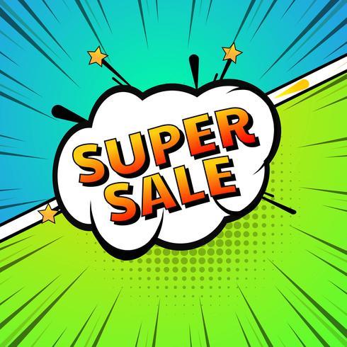 Comic super försäljning pop art färgglad bakgrund vektor